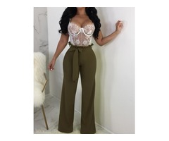 Solid Frills Belted Wide Leg Pants