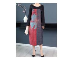 Women Long Sleeve Print Patchwork Mid-long A-Line Dress
