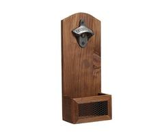 Beer Bottle Opener Drink Cap Catcher Wooden Iron Wall Mounted Rustic Bar Decoration