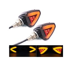 12V Motorcycle LED Turn Signal Brake Lights Scooter ATV Taillight Yellow+Red E11 Mark