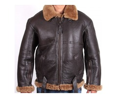 Happy Christmas| Men's Aviator B3 Ginger Brown Fur Bomber Flying Leather Jacket