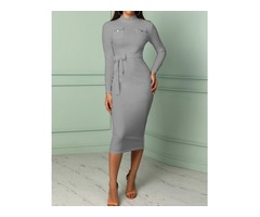 Solid Pocket Design Belted Bodycon Dress