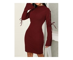 Solid Lace-Up Eyelet Flared Sleeve Bodycon Dress
