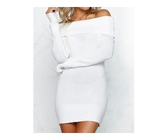 Fold-Over Off Shoulder Bodycon Dress