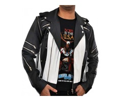 Happy Christmas|  Micheal Jackson 80s Classic Black White Leather Jacket
