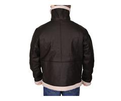 Happy Christmas| Black Sheepskin Fur Bomber Leather Jacket