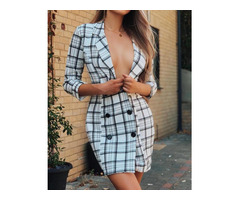 Plunge Grid Double Breasted Blazer Dress