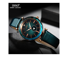 IBSO-Women's Crystal Watches, Luxury Accessory, Glass Cut Bracelet, Leather Design, Qu