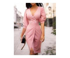 Puff Sleeve Button Detail Wrap Dress