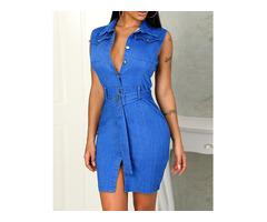 Denim Sleeveless Button Through Belted Dress