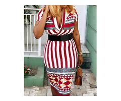 Geometric Print  Stripes Wrapped Dress