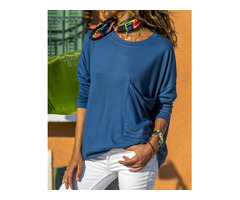 Solid Pocket Design Loose T-shirt