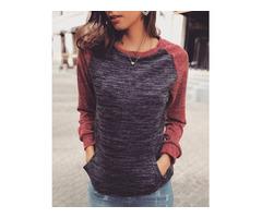 Raglan Sleeve Pocket Casual Sweatshirts