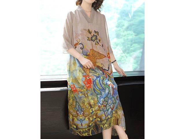 Elegant Floral Print V-neck Long Sleeve Vintage Dress   free-classifieds.co.uk