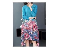 Vintage Women Floral Print O-neck Long Sleeve A-Line Dress