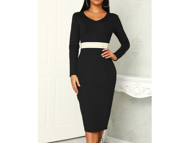 Deep V Sequined Stripes Detail Bodycon Dress | free-classifieds.co.uk