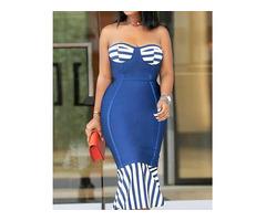 Striped Splicing Strapless Pep Hem Bodycon Dress