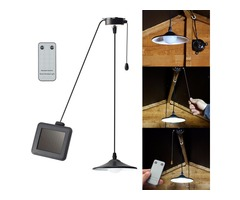 Solar Outdoor Garden Patio LED Ceiling Pendant Light Hanging Garage Shed Lamp + Remote Control
