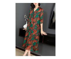 Elegant Floral Print V-neck Half Sleeve Mid-long Dress