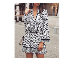 Ethnic Print Long Sleeve Elastic Waist Casual Dress