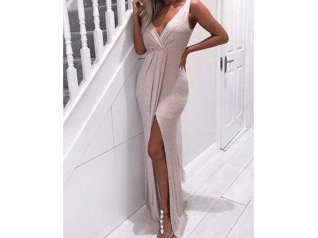 Shiny V-Neck Scrunched Waist Slit Dress | free-classifieds.co.uk