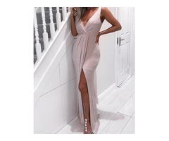 Shiny V-Neck Scrunched Waist Slit Dress