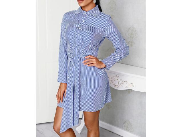 Pinstripes Long Sleeve Tie Waist Shirt Dress   free-classifieds.co.uk