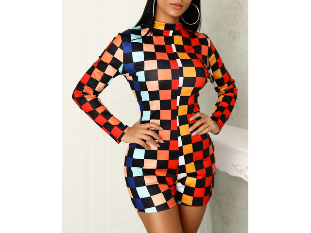 Colorful Checkboard Print Reversible Rompers | free-classifieds.co.uk
