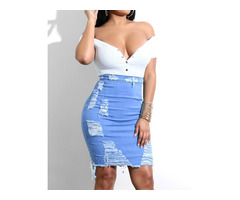 Fringes Ripped Stretch Denim Skirts