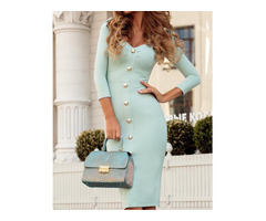 Button Design Ruffles Shoulder Bodycon Dress