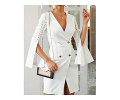 Solid Lace-Up Slit Sleeve Blazer Dress | free-classifieds.co.uk
