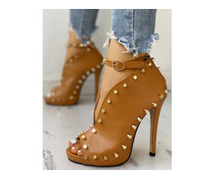 Rivet Embellished Hollow Out Buckle Peep Toe Pumps