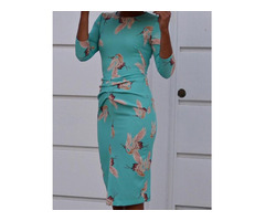 Floral Print Ruched Front Bodycon Dress | free-classifieds.co.uk