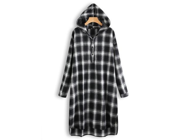 Women Casual Grid Long Sleeve Split Hem Hooded Shirt Dress   free-classifieds.co.uk