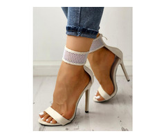 Fashion Mesh Thin Heel Sandals
