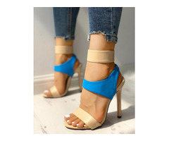Contrast Color Cut Out Thin Heeled Sandals