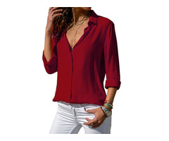 Women Lapel Buttons Down Long Sleeve Chiffon Blouse