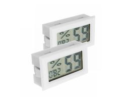 2Pcs Digital Mini LCD Digital Thermometer Hygrometer Fridge Freezer Temperature Humidity Meter White
