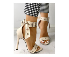 Single Strap Eyelet Buckle Knot Thin Heeled Sandals