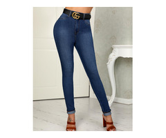 High Waist Pocket Skinny Jeans