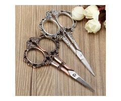 Vintage Flower Pattern Cross Stitch Embroidery Scissors DIY Handcrafteds Silver Bronze Sewing Shear