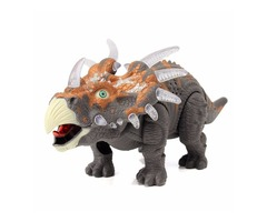 Emulational Triceratops Play Set Light Up Sound Walking Dinosaur World Toy