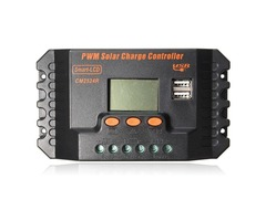 20 30A PWM LCD Dual USB Solar Panel Battery Regulator Charge Controller 12 24V