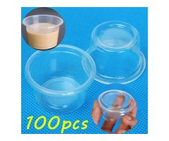 100pcs 1oz 30ml Cup With Lid Clear Plastic Pudding Jelly Sauce Cup