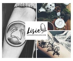 Beautiful black & grey dot-work tattoos by female artist