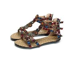 Bohemia Bead Crystal Zipper Peep Toe Beach Sandals