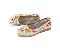 Chinese Style Flower Embroidered Flat Loafers Soft Sole Linen Slip-ons