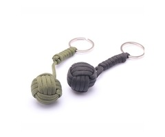 B039 Security Protection Monkey Fist Steel Ball Bearing Self Defense Lanyard Survival Key Chain Blac