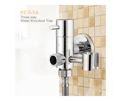 KCASA Brass Water Knockout Trap Three Way Angle Valve Water Tap Bathroom Shower Bidet Spray