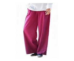 Vintage Loose Women Solid Elastic Waist Wide Leg Pants
